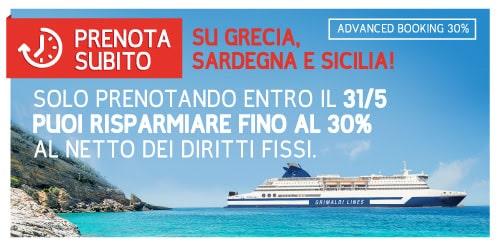 Prenota Prima Sardegna, Sicilia, Grecia con Grimaldi Lines